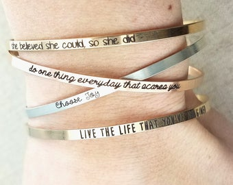 Personalized Cuff Bracelet - Inspirational Bracelet - Personalized Gift - Gold Bracelet - Rose Gold Bracelet - Dainty Cuff Bracelet