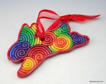 Rainbow Rabbit Christmas Ornament in Fimo Filigree