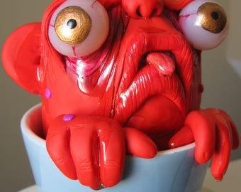 creature from the black tea lowbrow figure art doll clay tea cup monster ooak sculpture one of a kind by mealy monster land
