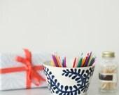 ON SALE, Handmade, Ceramic, Bowl , Luxury, Gift, Gold Edged, Blue, Leaves, Vine