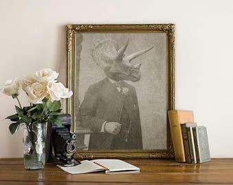 Triceratops, Dinosaur Art, Dinosaur Print, Dinosaur Wall Decor, Dino Art, Dino, Boys Room Art, Gift for Boy, Kids Wall Art, Bedroom Art