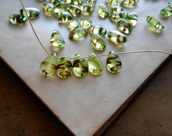 10 pc green and brown glass tear drop beads - destash jewelry supplies