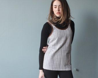 SALE 60s knit tank top | brown white cotton poly tank | small - large