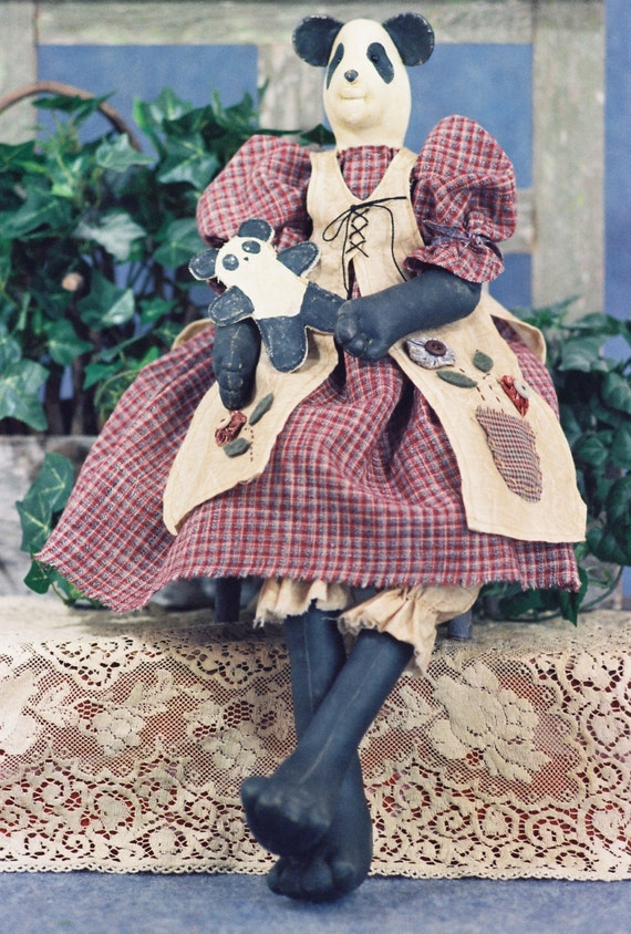 Original Prototype Handmade Collectible Cloth Doll Girl Panda