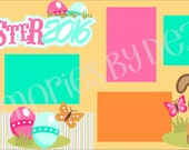 CLEARANCE Easter 2016 Girl 2-Page 12X12 Scrapbook Page Kit