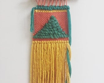 Handwoven Geometric Wall Hanging: teal, rust, and mustard