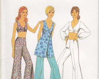 Vintage Pattern Style 3679 Top or Tunic and Trousers 70s Size 10 B32-1/2 UNCUT