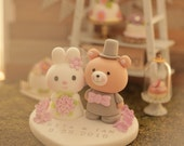 rabbit and bear wedding cake topper --k915