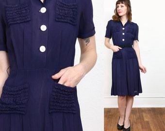 SALE 1930s Navy Dress Blue Shirtwaist
