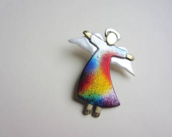Angel with spread wings in rainbow dress pin brooch