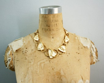 vintage 70s Kunio Matsumoto Trifari Geometric Enamel Necklace Cream & Gold Designer Signed