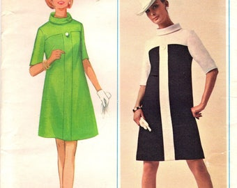 1960s Butterick 4742 UNCUT Vintage Sewing Pattern Misses A-line Dress, One Piece Dress, Half Size Dress Size 12-1/2 Bust 35