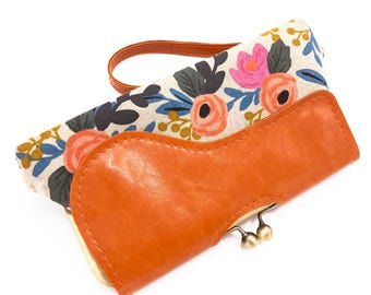 Vegan Bag, Wristlet Wallet, Vegan Leather, floral clutch, Clutch Purse, Rifle Paper Co, Phone Clutch, Kisslock Wallet, Vegan Leather Wallet,