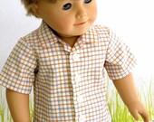 Boy Doll Clothes Button Front Shirt, Plaid Easter Shirt, American Boy Doll Spring Summer Shirt