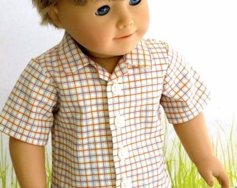 Boy Doll Clothes Button Front Shirt, Plaid Easter Shirt, American Boy Doll Spring Summer Shirt