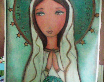 Je Suis L' Immaculée Conception  - Large Print on Fabric from Original Painting (16 x 20 inches) by FLOR LARIOS