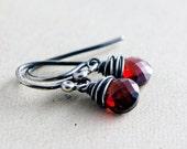 Rubelite Garnet, Garnet Earrings, Drop Earrings, January Birthstone, Wire Wrapped, Sterling Silver, Birthstone Earrings, PoleStar