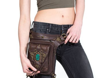 VINTAGE VIBES Brown Leather Holster Bag with Turquoise and Brass Detailing