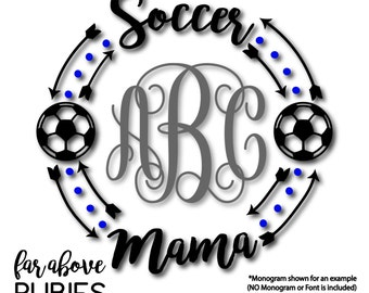 Soccer Mama Monogram Wreath with Soccer Balls (monogram NOT included) - SVG, DXF, png, jpg digital cut file for Silhouette or Cricut Mom