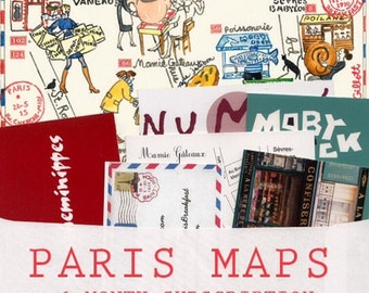 Paris Maps:6-month subscription. An illustrated Paris map each month + small watercolor bonus