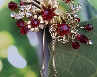 Red and Gold Hair Pin, Crystal Hairpin, Modern Tea Ceremony Headpiece