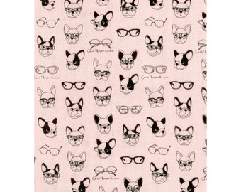 Half Yard Kokka Japan Fabric - French Bulldogs - Double Gauze Cotton - K6006C Light Pink