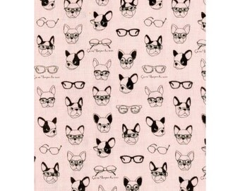 Kokka Japan Fabric - French Bulldogs - Double Gauze Cotton - K6006C Light Pink, select a length