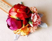 Cherry Punch Pink Orange Red Roses Mixed bunch Vintage style Millinery Flower spray Bouquet floral corsage
