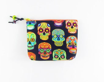 Sugar Skulls cosmetic bag,zippered pouch, padded makeup bag,jewelry pouch, gift bag,accessory bag, handmade