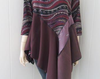 Boho Lagenlook Tunic Burgundy Plum & Gold Cotton Stretch Knit One Size Fits S - XL