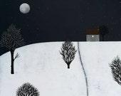 Night-time in Fen Meadow - Archival 8x8 Print - Winter Landscape Painting - Folk Art - Modern Nursery - by Natasha Newton