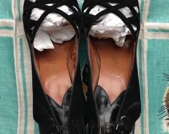 1940's 50's Pandora black suede slingback sandals 7S NARROW