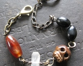 SALE - Grimly No. 5 - Grumpy Carved Bone Skull Bracelet With Stones and Antique Rosary Beads