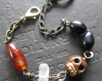 Grimly No. 5 - Grumpy Carved Bone Skull Bracelet With Stones and Antique Rosary Beads