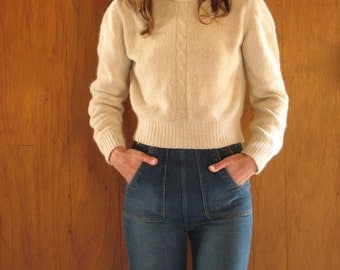 SILK & ANGORA cropped Scottish cable knit turtleneck sweater, xs p