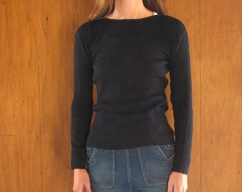 SILK RIBBED navy blue sweater, s