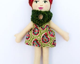 Cloth Doll Red Hair, Green Cowl Rag Doll Soft Doll Christmas Doll Gifts under 75 fabric doll heirloom doll