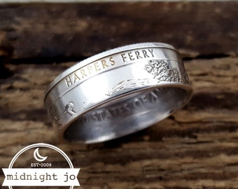 Harpers Ferry Silver Coin Ring National Park Quarter