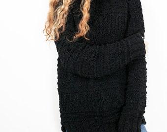 Hand knit oversized sweater wool woman sweater long sweater Black pullover sweater