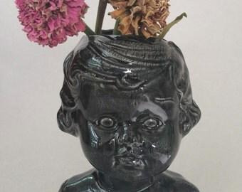 Black Baby Doll Head, ceramic doll head vase, black doll head vase