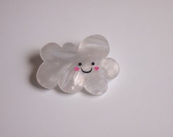 Happy Little Blushing Raincloud  - Painted White Pearlescent Laser Cut Acrylic Brooch