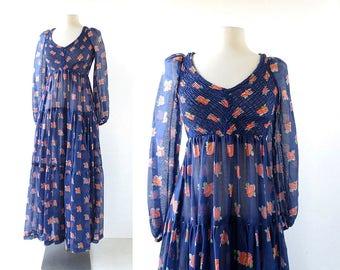 Floral Maxi Dress | Gartenmusik | 1970s Dress | XS S