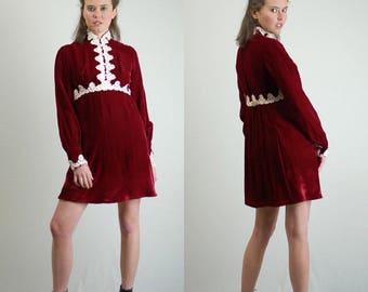 Velvet Baby Doll Vintage Dark Red Velvet Gothic Lace Empire Baby Doll Mini Dress (s m)