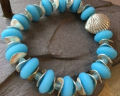 "Blue Stretchy ""Sea Glass"" Bracelet with Hill Tribe Silver Sea Shell"