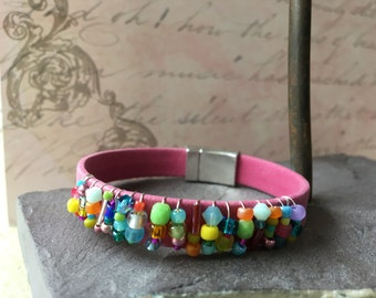 Beaded Pink Suede Like Leather Bracelet