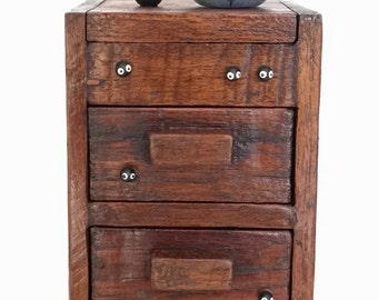 Totoro dolls on TEAK WOOD BOX with drawers 179