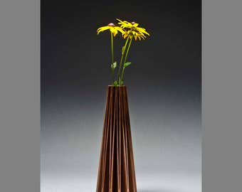 Coneflower contemporary wood vase