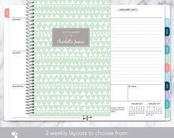 2018 planner calendar choose start month | add monthly tabs weekly student planner personalized agenda | mint green grey tribal pattern