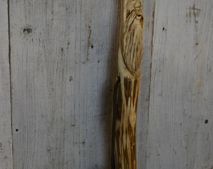 Wood Spirit Walking Stick, Whimsical Carving, Handcarved Elm Woodspirit Hiking Stick, Hand-carved Mountain Man Wood Carvers of Etsy
