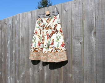 A-line Western Skirt, Western Rodeo Cowgirl, Pinup, Rodeo Queen, Arrows, Semi-Gathered Skirt, Custom made in ALL lengths and sizes